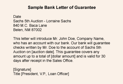 Release Sample Letter Letter of Guarantee Sample